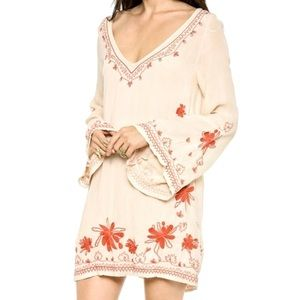 Free People Skyfall Embroidered Mini Dress White S